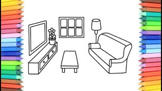 How To Draw a Living Room For Kids 💜💖 Coloring Pages With Markers 💖 Learn Drawing