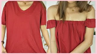 DIY - OFF SHOULDER TOP OUT OF T-SHIRT (TAGALOG) | rhaze