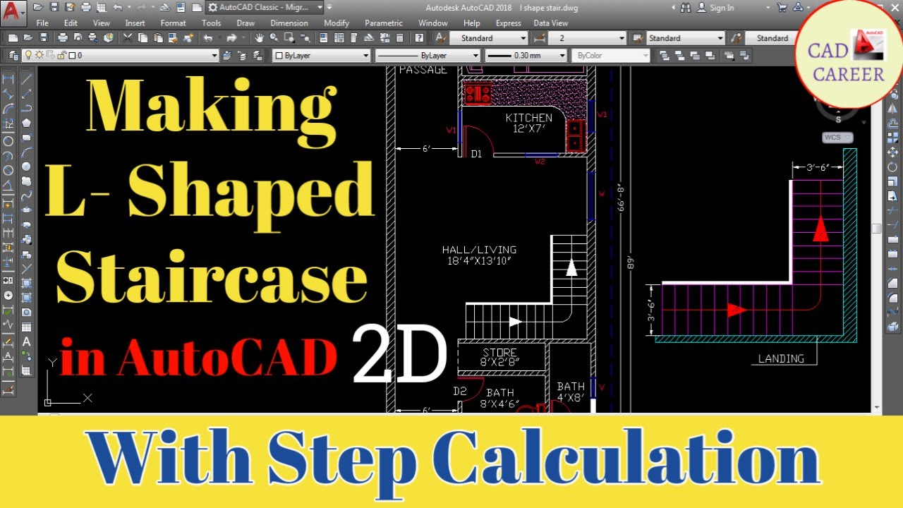 How to Design L-Type STAIR in 2D plan | Staircase Design | CAD ...