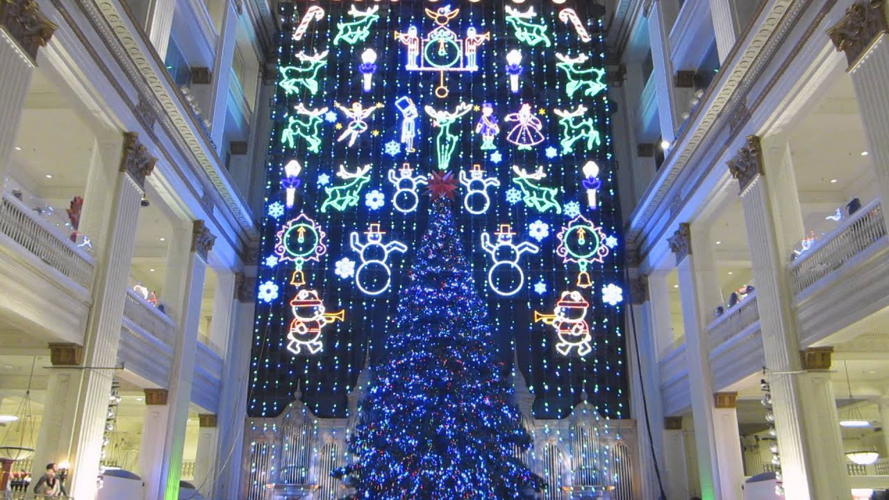 John Wanamaker, Macy's Philadelphia Holiday light show finale 2015 ...