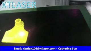 fiber laser marking eartag in yellow plastic