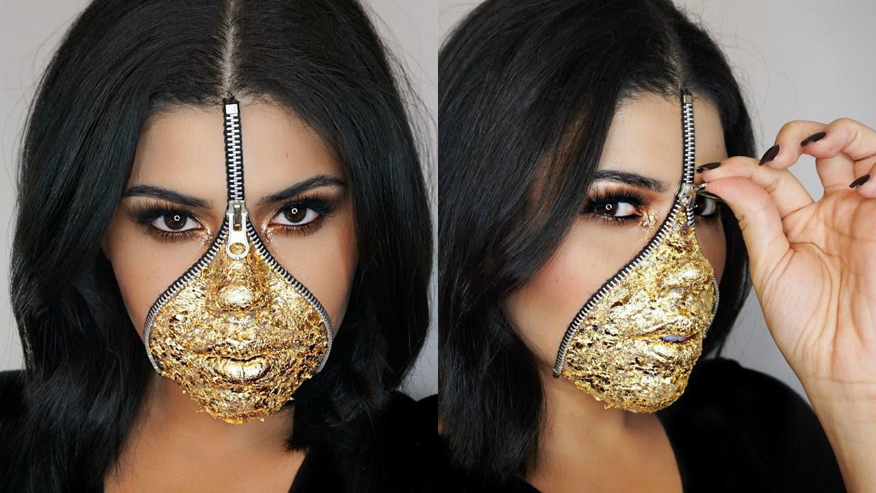 EASY Last Minute Zipper Face Makeup Using Gold Leaf | Halloween ...
