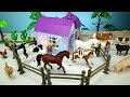 Horse Stable Barn and Farm Animal Toys For Kids - Learn Animals Names Video