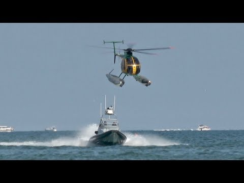 Hughes OH-6 Cayuse NH-500MD Guardia di Finanza Speedboat chase at the Jesolo European AirShow 2017