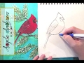 Cardinal Drawing Tutorial   How to Draw Birds   Step by Step Art Lesson   Angelooney Winter Event