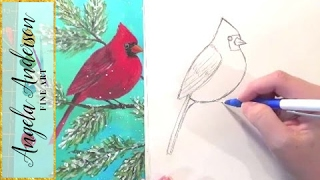Cardinal Drawing Tutorial | How to Draw Birds | Step by Step Art Lesson | Angelooney Winter Event