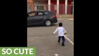 Kid pulls off soccer trick shot, celebrates like Ronaldo