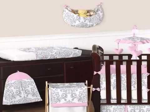 New Pink, Gray And White Elizabeth Baby Girl Bedding 9pc Crib Set Slide