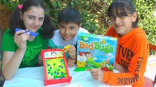 Guka Nastya and Maria play Bed Bugs Board Game for kids