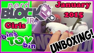 Nerd Block Jr. Girls - Jan. 2015 - Epic Unboxing! Frozen, Shopkins & More!! By Bin's Toy Bin