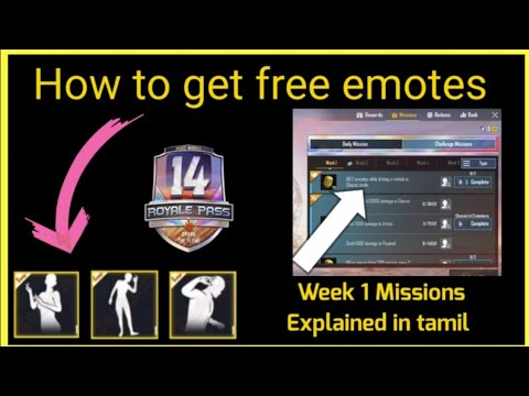 how-to-get-free-emotes-in-pubg-mobile-||-season-14-week-1-royal-pass-missions-explained-in-tamil