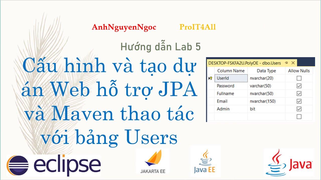 L5.p1: Cấu hình và tạo dự án web hỗ trợ JPA (Java Persistence API) thao tác với bảng Users