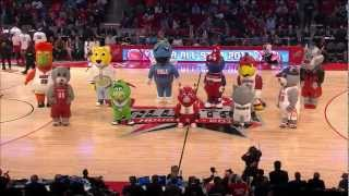 NBA Mascots Inflatables dancing at 2013 NBA All-Star Game