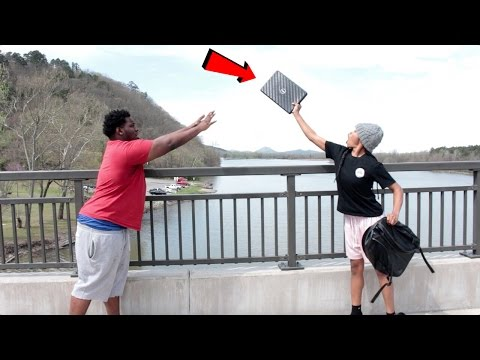 THROWING LAPTOP IN RIVER PRANK!!! (EXTREME)