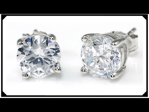 Stud Earrings Synthetic Diamond Silver 925 White Gold Filled For Friend