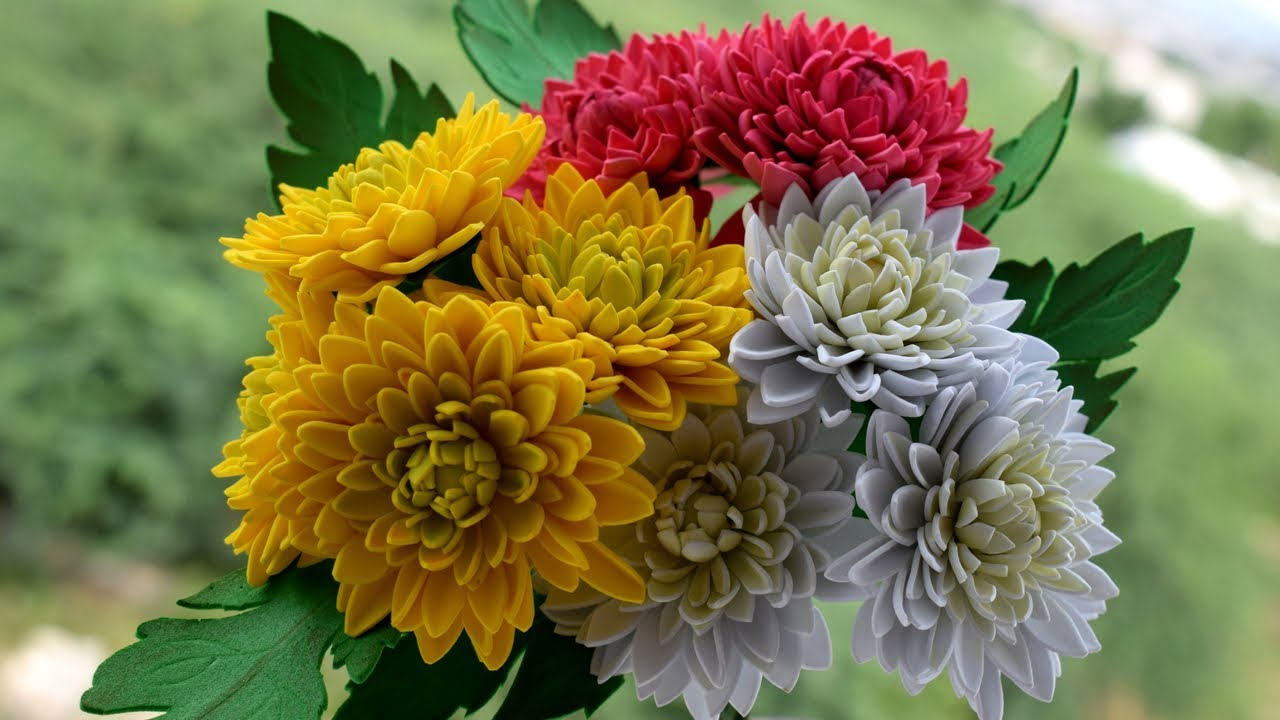 how to make flowers with paper   foam sheet chrysanthemum