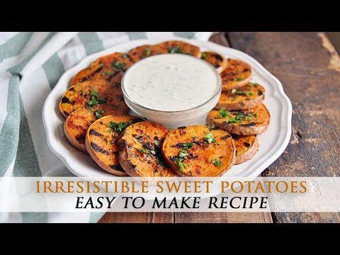 Grilled Sweet Potatoes with Garlic Yogurt Aioli