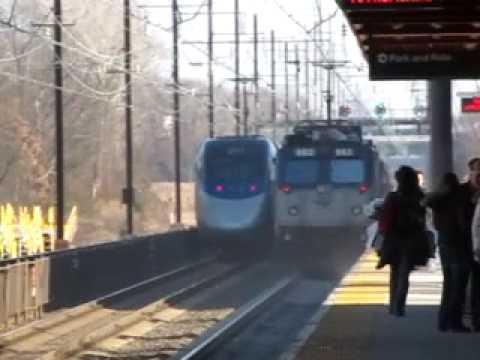 Thumbnail: Acela race's Amtraks keystone by Hamilton NJ