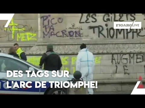 «Gilets jaunes»: des tags sur l'Arc de Triomphe!
