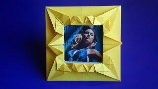 оригами рамка для фото, как сделать оригами фоторамку, origami frame for photo