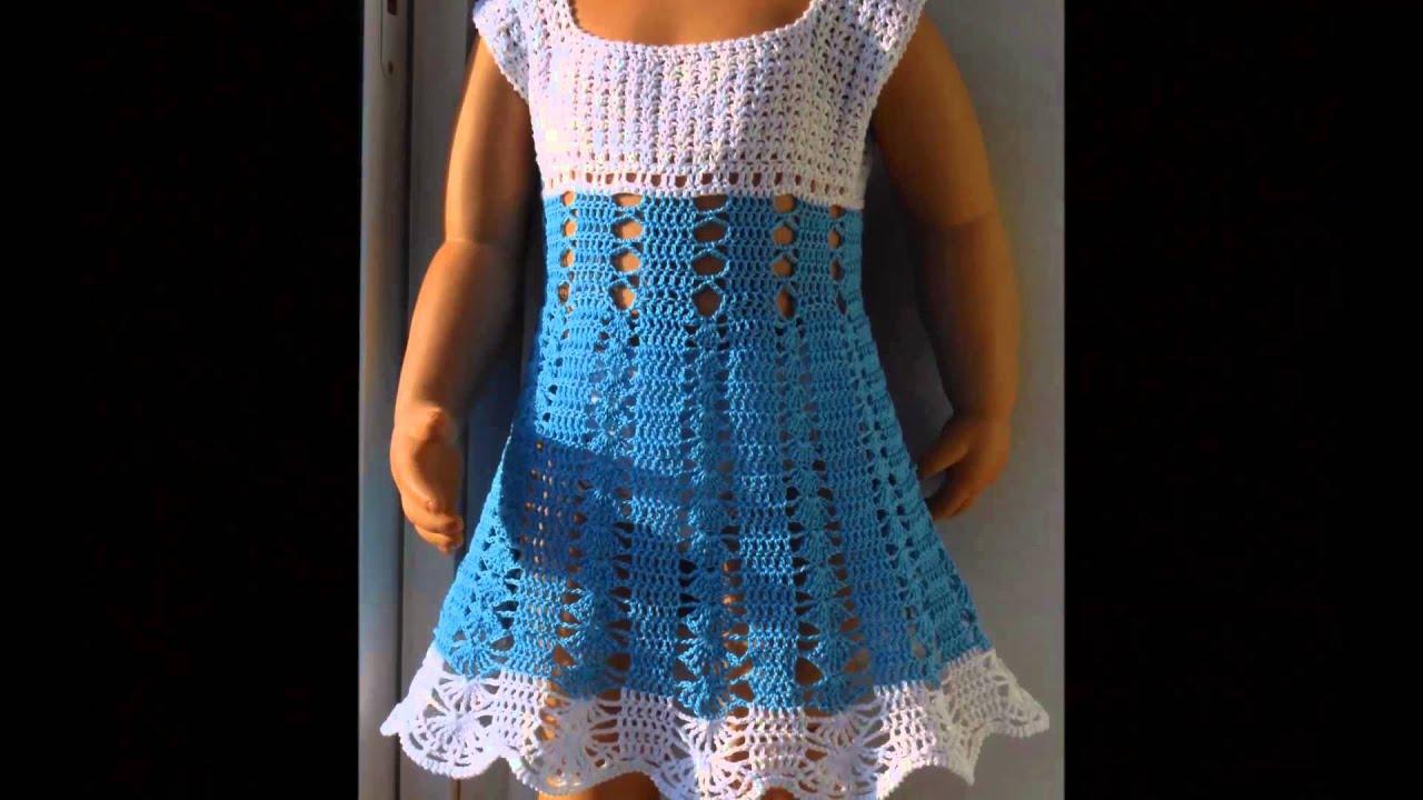 2da8b8ef7 Vestidos tejidos a crochet para niñas de 5 y 6 años - YouTube