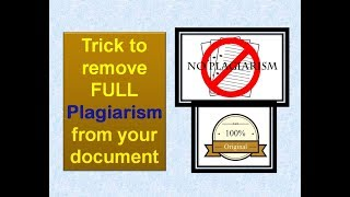 Trick to remove full plagiarism from your document |How to Remove plagiarism from turnitin