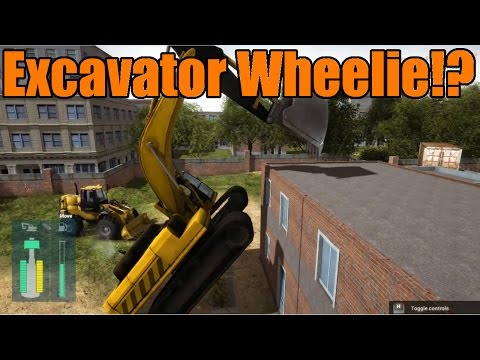 Construction Machines Simulator 2016   Excavator Wheelie!  