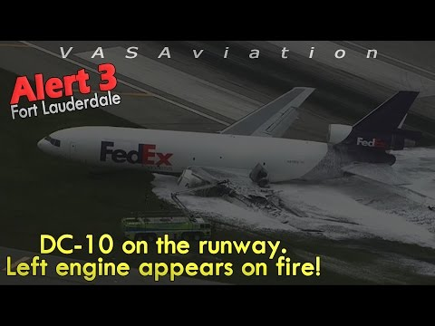 [REAL ATC] Fedex MD-10 GEAR COLLAPSES + CAUGHT FIRE at Fort Lauderdale!
