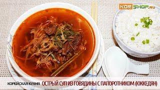 Корейская кухня: Острый суп из говядины с папоротником (Юккедян)
