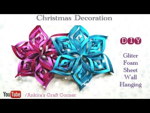 Christmas Decoration Glitter Foam Sheet Snowflakes Wall Hanging