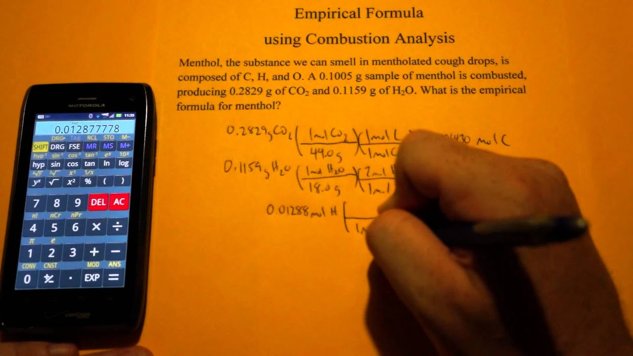 Empirical Formula Calculation from CO2 and H2O Combustion – Combustion Analysis Worksheet