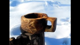 Деревянная кружка кукса (Kuksa) делаем своими руками. Резьба по дереву урок