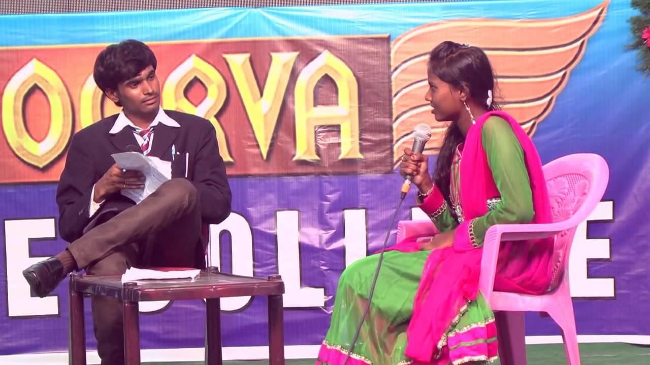 Viva with Grils - Telugu Funny Skit -AADYA-2014 - Apoorva College Freshers'  Day