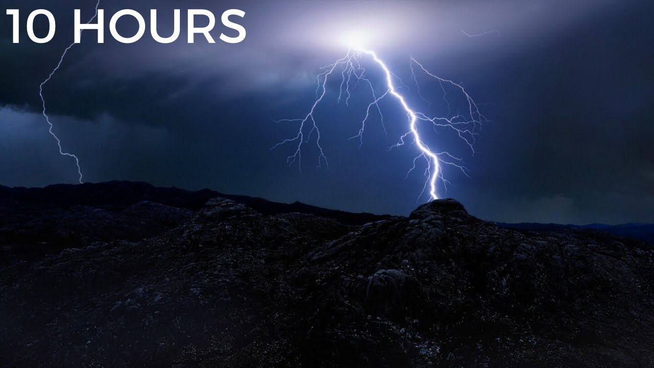 Heavy Thunderstorm & Lightning Strikes in Distance | Rolling Thunder, Wind & Rain Sounds for Sleep