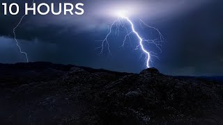 Heavy thunderstorm and lightning strikes in the distance at night. rolling thunder sounds, strong howling wind light rain sounds for sleeping dee...