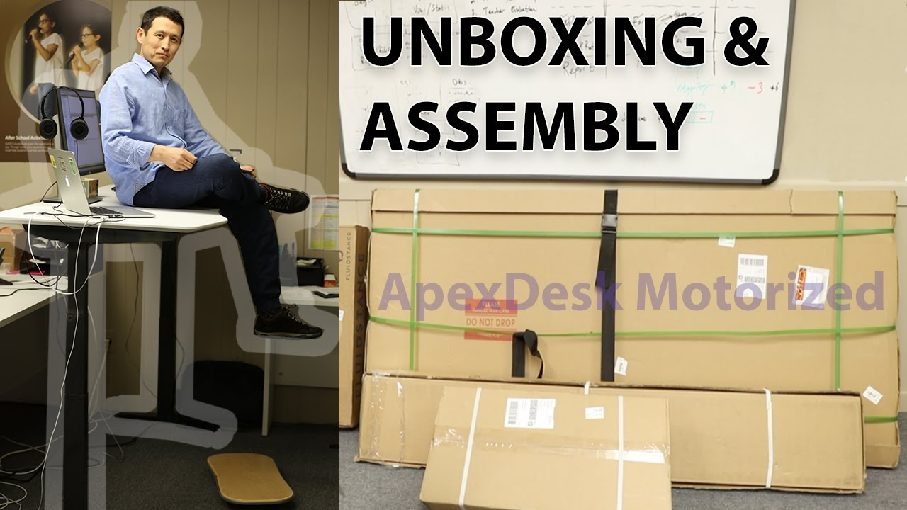 Apex Motorized Standing Desk Unboxing Assembly YouTube