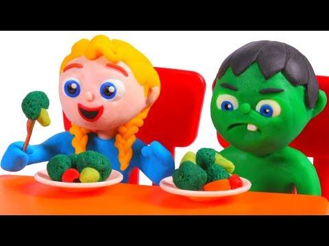 SUPERHERO BABIES EAT BROCOLI 鉂� SUPERHERO BABIES PLAY DOH CARTOONS FOR KIDS