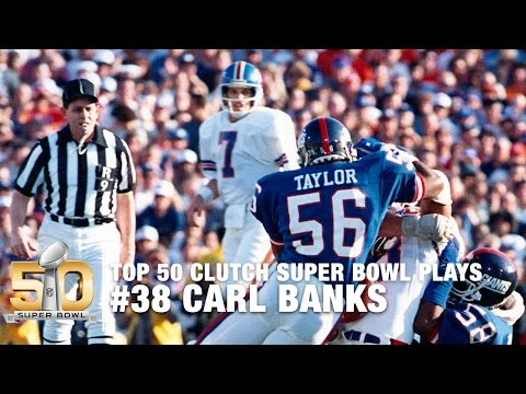#38: Carl Banks Tackles Sammy Winder Super Bowl XXI  | Top 50 Clutch Super Bowl Plays