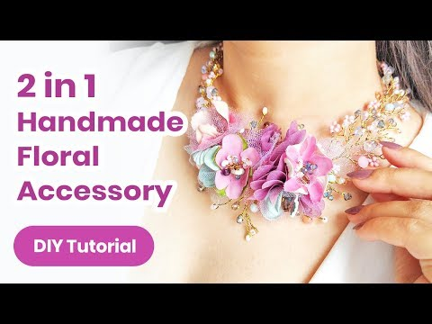 2019 Summer DIY Headpiece/Necklace IDEA. Fantastic 2 in 1 Accessory With Flowers! 💜Jewelry Tutorial - YouTube