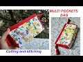 MULTI POCKETS purse -multi-utility pouch to store small item at home-Hindi sewing tutorial