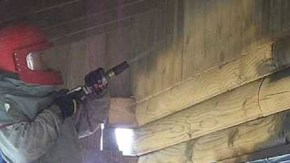 Indiana Log Home Restoration Corn Cob Blasting - Media Blasting A Log Home