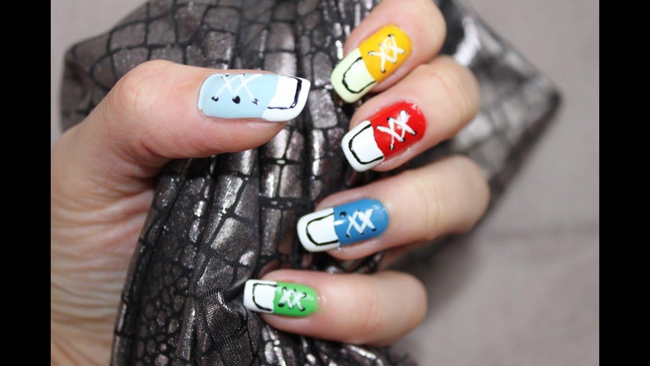Piękne paznokcie - Jak malować - Trampki:) - YouTube