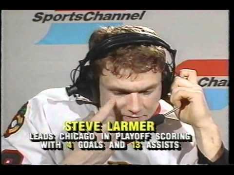 Steve Larmer shorthand slapshot goal - 1990 Norris Division final game 7 - Post-game Interview