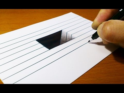 Very Easy!! How To Draw 3D Hole for Kids - Anamorphic Illusion - 3D Trick Art on Line paper