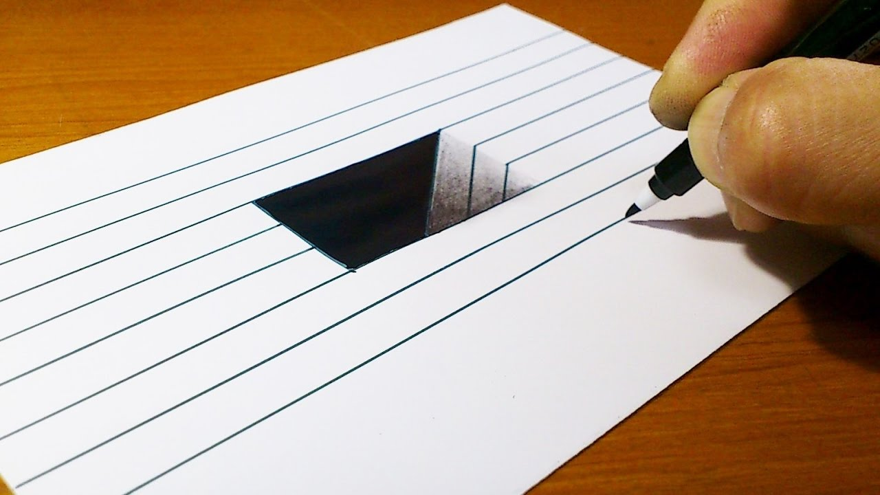 Dibujos Para Colorear En 3d: Very Easy!! How To Draw 3D Hole For Kids