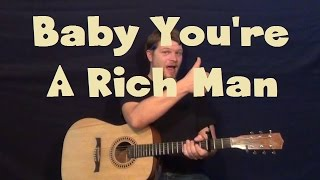 Baby You're A Rich Man (Beatles) Easy Strum Guitar Lesson  - How to Play