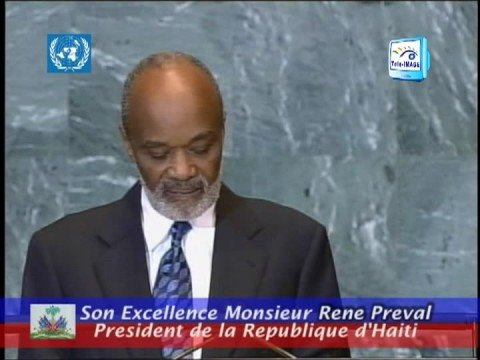 PRESIDENT RENE PREVAL ADDRESSES THE UNITED NATIONS