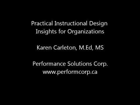 Practical Insights for Instructional Design in Organizations