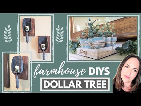 DOLLAR TREE Farmhouse DIYs 🔳 NEW 🔳  FAUX GALVANIZED SCOOP SCONCES + TERRA COTTA POT TRAY 2020