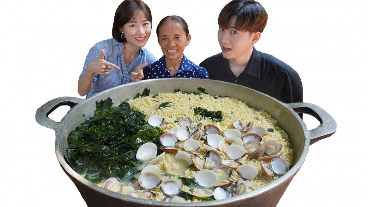 Bà Tân Vlog - Làm Nồi Mì Rong Biển Hàn Quốc Siêu To Khổng Lồ